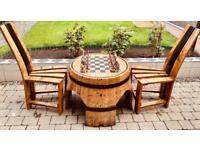 Oak whisky barrel (large) chess table set