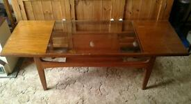 Vintage G Plan 2- tier Coffee Table with glass inset