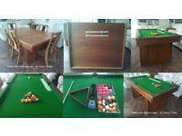 Dining /snooker/pool table with 6 chairs. Table raises up in height to play pool or snooker