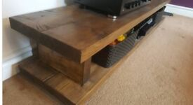 Rustic solid wood TV unit cabinet stand