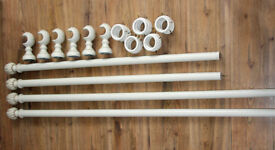 2 x SETS OF CURTAIN RAILS/RODS + BRACKETS + RINGS.