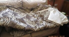 PAIR OF CURTAINS 6FT X90 LIGHT BROWN / BEIGE LINED