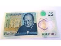 NEW Polymer Five Pound Note £5.00 AA57 562391