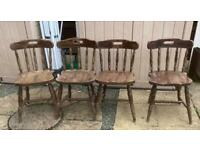 Set of 4 vintage wood pub chairs ideal man cave