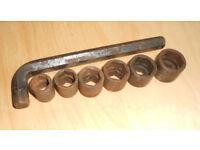 Vintage Set of Socket Spanners - Old Car Tool Kit