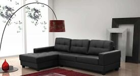 BRAND NEW (BARCELONA) CORNER SOFABED PU LEATHER IN BLACK OR BROWN (FREE DELIVERY)