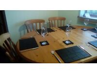 Pine And Oak Extending Dining Table 4 Chairs Solid Wood