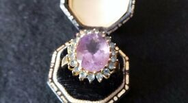 Ladies dress ring,amethyst and topaz stones,size P,