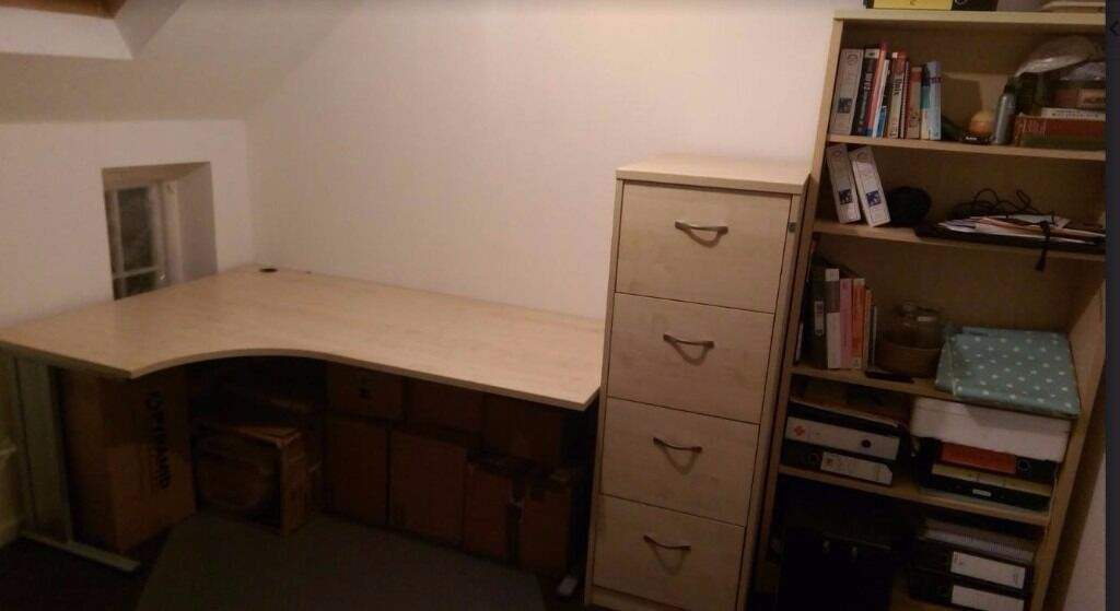 Home Office Furniture set (Beechin Moseley, West MidlandsGumtree - High Quality Beech coloured Home office furniture set comprising of a table, filing cabinet and bookshelf. All units in impeccable condition. Purchased from Euroffice for £ 800, less than 2 years ago, but will accept £ 349 or can split, if single...