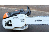 Stihl MS201T Professional top handle chainsaw new condition with Combi fuel/oil can.