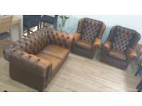Chesterfield style Thomas Lloyd Sofa and 2 Armchairs