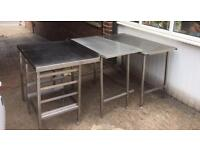3 Stainless Steel tables