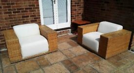 2 x Contemporary Bamboo Flat Weave Rattan Box Chairs - Conservatory / Patio