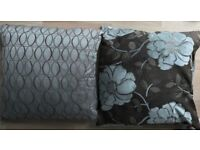 Marks and Spencers Teal Blue Brown Patterned Set of 8 (4 of each pattern) Cushions for Sofa or Bed