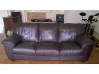 SOFA - 3 SEATER - BROWN SOFT LEATHER - RRP £1200 - COMFY - VERY GOOD USED CONDITION