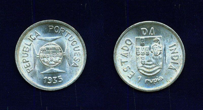 INDIA  PORTUGUESE  1936  HALF-RUPIA  SILVER COIN, BRILLIANT UNCIRCULATED!