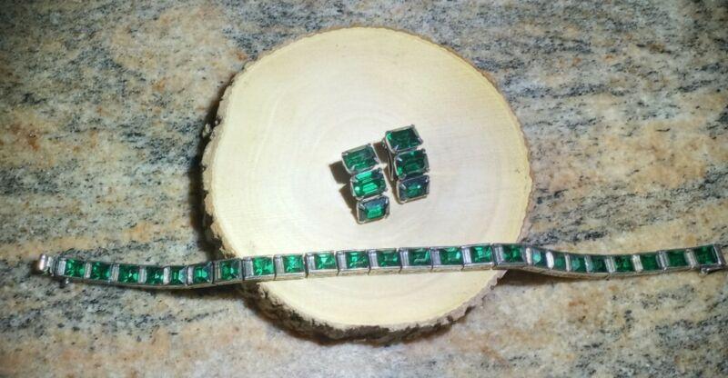 Art Deco Sterling Bracelet w/Green Crystal Channel Set Glass Stones w/Earrings