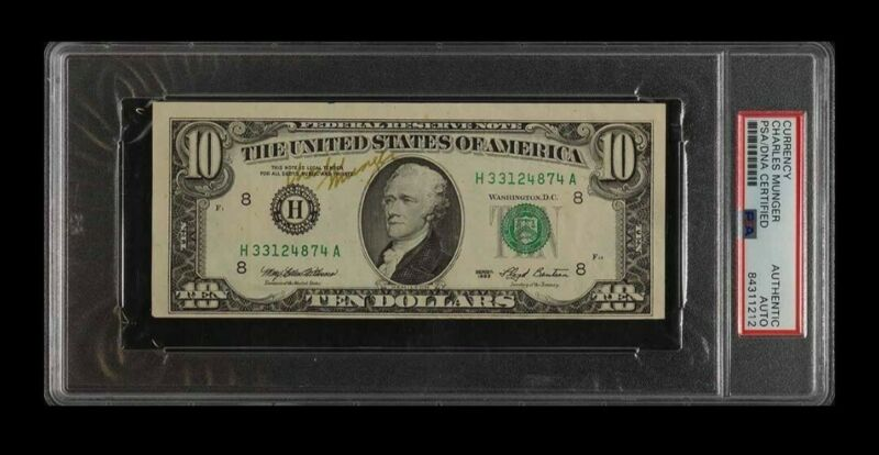 Charlie Munger Autographed Signed $10 Bill Currency PSA/DNA 1 of a kind!!