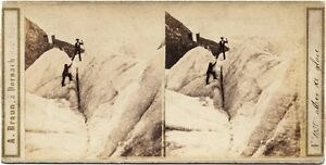 Rare Adolph Braun Mountain Alps Lot of three stereoscopic cards 1860c Stereoview
