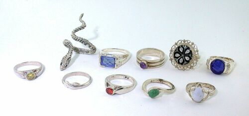 36.72 GRAMS TEN ASSORTED STERLING SILVER RINGS CLOSEOUT ASJC4