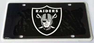 Oakland Raiders 1st Design NFL Black Printed Metal License Plate Tag Car - Nfl Oakland Raiders