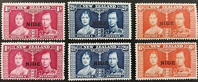 """Niue 1937, """"Coronation"""" 2x sets of 3 stamps optd. mh"""