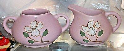 Vintage Dog Wood Pink Creamer Sugar Bowl Pigeon Forge Potteries Shabby Cottage