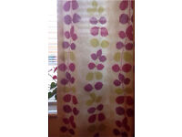 Purple & Green Leaf Pattern Lined Curtains