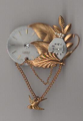 Vintage 2 Clock Faces Bird STEAM PUNK 2 Chains Leaves Bling Brooch Pin Handmade