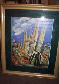 Gaudi style Bareclona print in quality frame