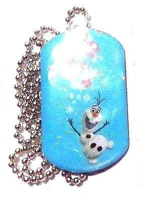 Disney Frozen Snowman Olaf Dog Tag Necklace Collectible RARE #13 Snowflakes
