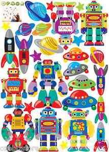 Robots Rockets Stars Space Ship Removable Wall Sticker Kids Boys Room Nursery