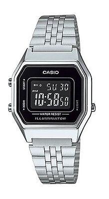 Casio LA680WA-1B Women's Vintage Silver Tone Chronograph Alarm Digital Watch