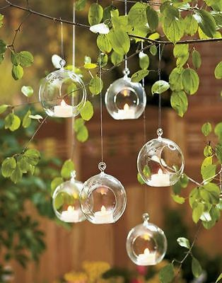 - Clear Hanging Glass Bauble Ball Tealight Candle Holder Wedding Garden Decor ML