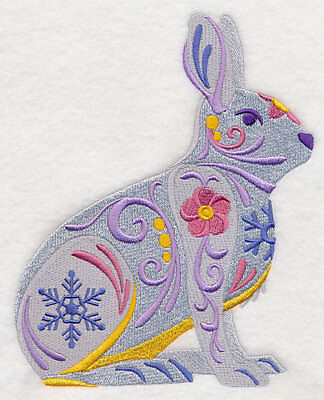 Embroidered Fleece Jacket - Flower Power Snowshoe Hare L8728 Sizes S - XXL