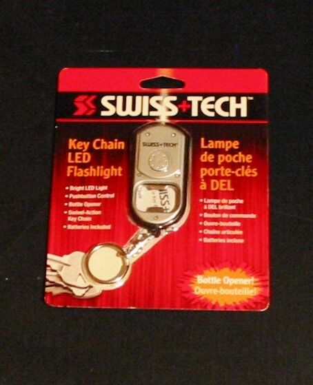Swiss Tech Metal Key Chain with LED Flashlight and Bottle Opener NEW Safety