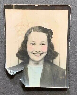 Cute Girl Young (Antique Photobooth Arcade Photo Beautiful Young Woman Cute Smiling Girl)