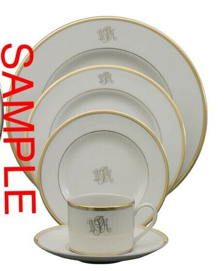 NEW Gold Pickard Fine China Monogrammed With S