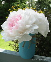 Handcrafted Coffee Filter Peony Bouquet in Teal Mason Jar Vase