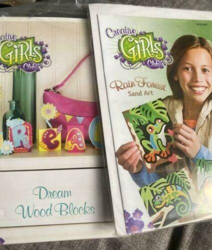 LOT of 2 NEW Creative Girls Club kits- Dream Wood Blocks & Sand Art - Free Ship