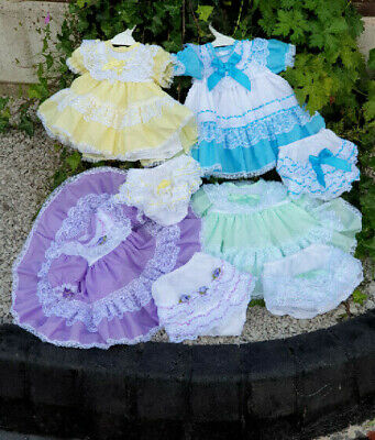 DREAM baby girls traditional netted dress and frilly knicker set or reborn dolls Net Baby Doll Set