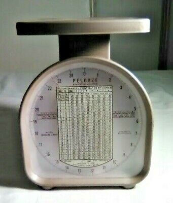 Vintage Pelouze Postal Scale Model Y25 Rate Indicating Parcel Scale 1967 Rates