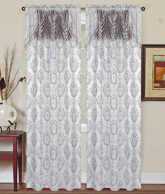 Single  Window Curtain Panel with Attached Valance:Rod Pocke