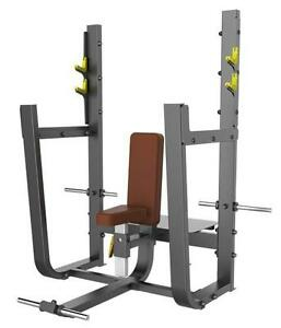 New eSPORT T1051 Olympic Seated Shoulder Press Bench With Spotters Platform & Plate Storage Holders