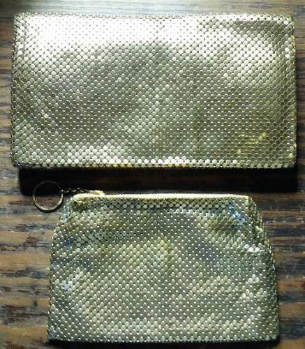 Vintage Whiting & Davis Gold Mesh Wallet and Change Purse Set