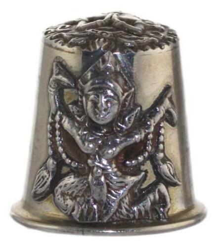 Sterling Silver Thimble ALEX & Co Bangkok Siam Religious Imagery Pre 1939