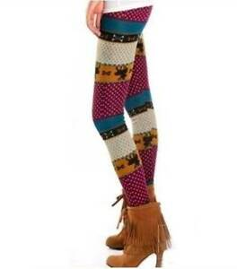 Womens Retro Knitted Warm Tights Reindeer Winter Leggings Modbury Heights Tea Tree Gully Area Preview