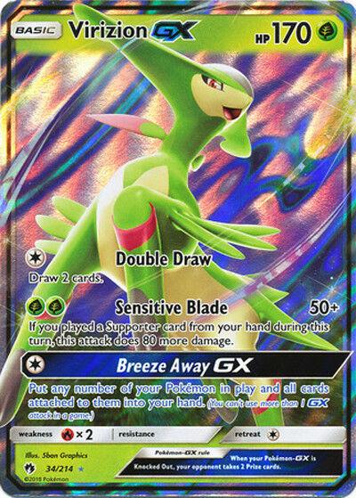 NM FULL ART Pokemon VIRIZION GX Card LOST THUNDER Set 197//214 SunMoon Ultra Rare