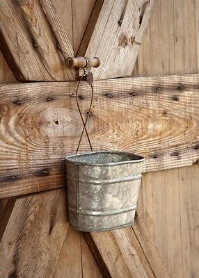 GALVANIZED HANGING BUCKET PLANTER WALL POCKET~ Primitive/Vintage/Rustic