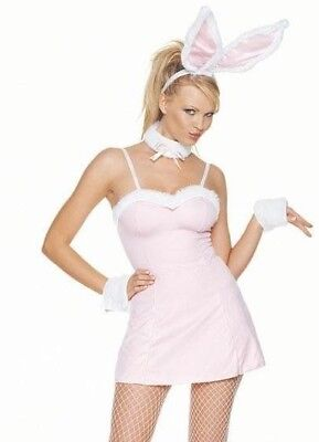 Leg Avenue 83007 4 Pieces Sexy Plush Trimmed Bunny Halloween Costumes Pink M/L (Halloween Costumes Pink)